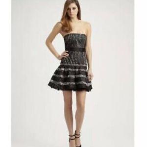 BCBG Madeline Stripe Jacquard Strapless Dress